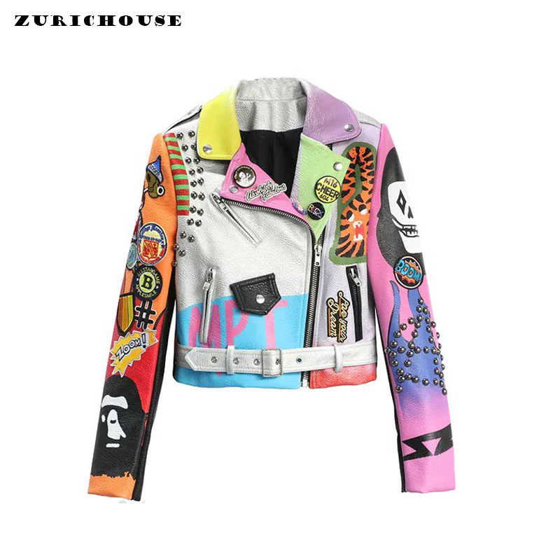ZURICHOUSE Cropped Leather Jackets Women Colorful Graffiti Studded Coat 2019 Punk Faux Leather Motorcycle Biker Jacket Ladies