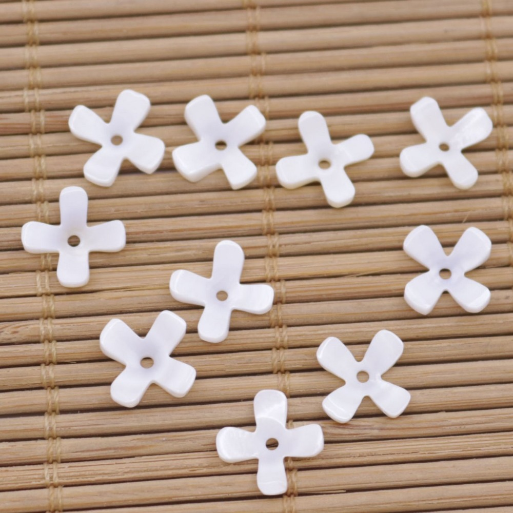 Купить с кэшбэком 10 PCS 10mm Flower Natural White Mother of Pearl Loose Beads Jewelry Making