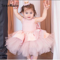 cute pink baby girls puffy dresses tutu sleeveless baby infant first birthday party outfit with bow little princess dress