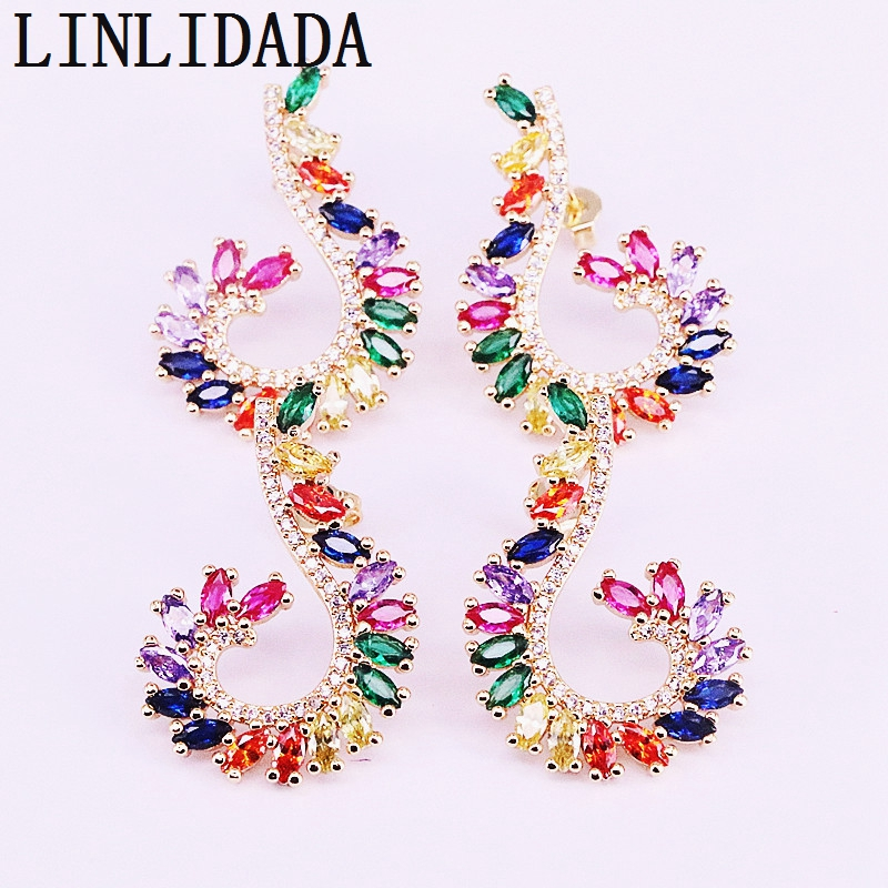 4Pairs New arrived women wedding jewelry stud earring  Gold Filled colorful cz micro pave zirconia