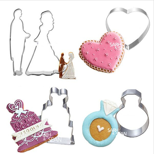 4pcs/set Wedding Decorations of Cake Diamond Ring Heart Marring Couple Metal Cookie Cutters Biscuits Stainless Steel Tools