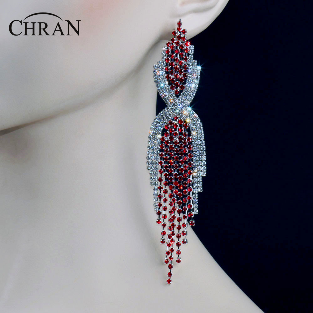 Chran New Sparkling Crystal Red Earrings 5 2inch Long Women Hanging Earrings With Stones Jewelry Gifts