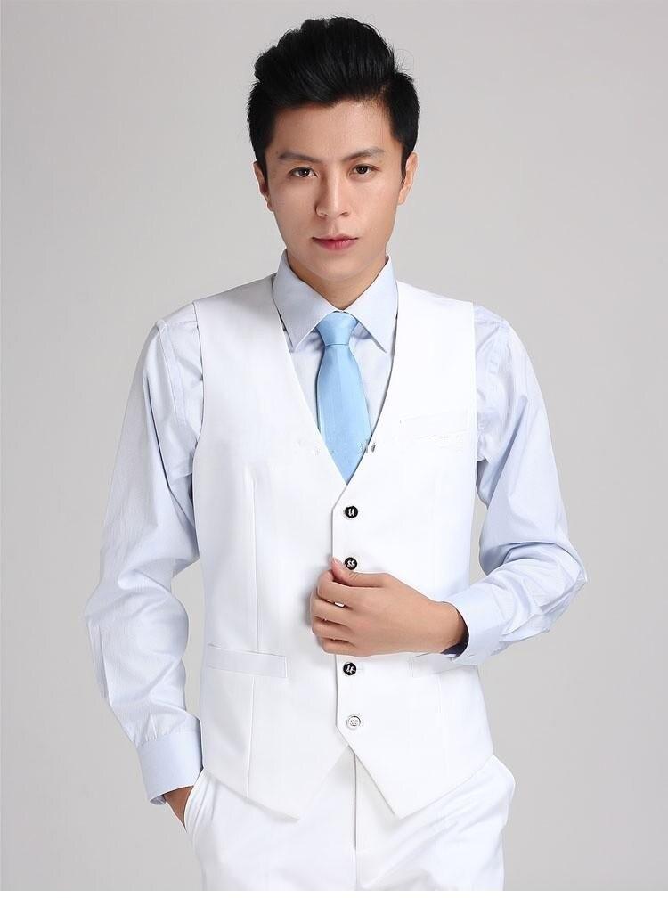2018 Gloednieuwe Bruidegom Vesten Wit Groomsmens/beste Man Vest Custom Made Grootte En Kleur Vijf Knoppen Bruiloft/prom/diner Vest