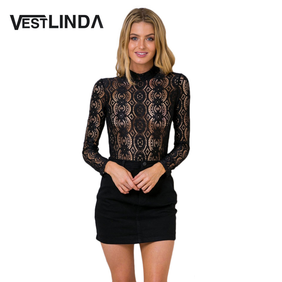 Vestlinda sexy blouse women flower beaded lace top blusas for Stand collar shirt womens