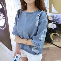 2017 Summer Jeans Shirts New College Wind Denim T Shirt Hole Student Round Neck Short Sleeve