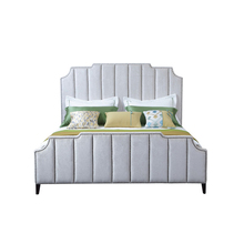 Newest Design Big Headboard Italian Tufted Leather Beds Bedroom Furniture Designs(China)
