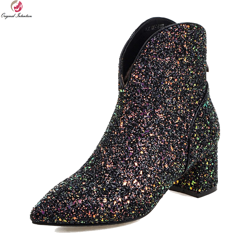 Original Intention Stylish Women Boots Glitter Pointed Toe Square Heels Boots Black Gold Silver Shoes Woman US Size 3-10.5 original intention high quality women knee high boots nice pointed toe thin heels boots popular black shoes woman us size 4 10 5