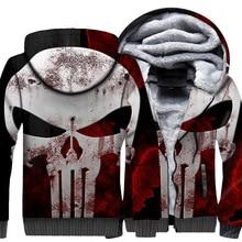 Skull Hip Hop Hoodie Men Super Hero Hooded Sweatshirt Coat Winter Fleece Warm Harajuku Sportswear Print Cool Jacket