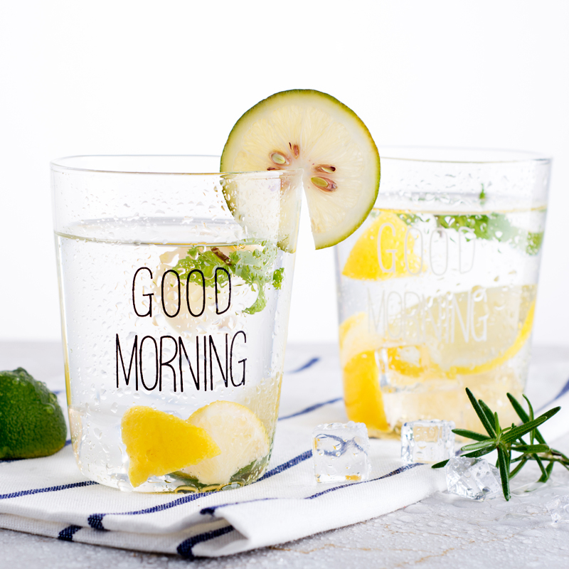 400ml Creative Good Morning Glass Cup Tumbler with Milk Water and Juice Glassware for Breakfast