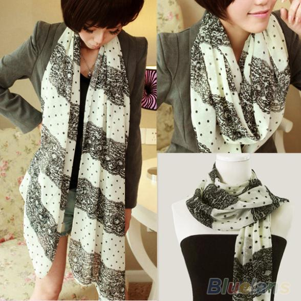 NEW Stylish Girl Long Soft Silk Chiffon Scarf Stripe Polka Dot Shawl Scarve For Women 9ET6