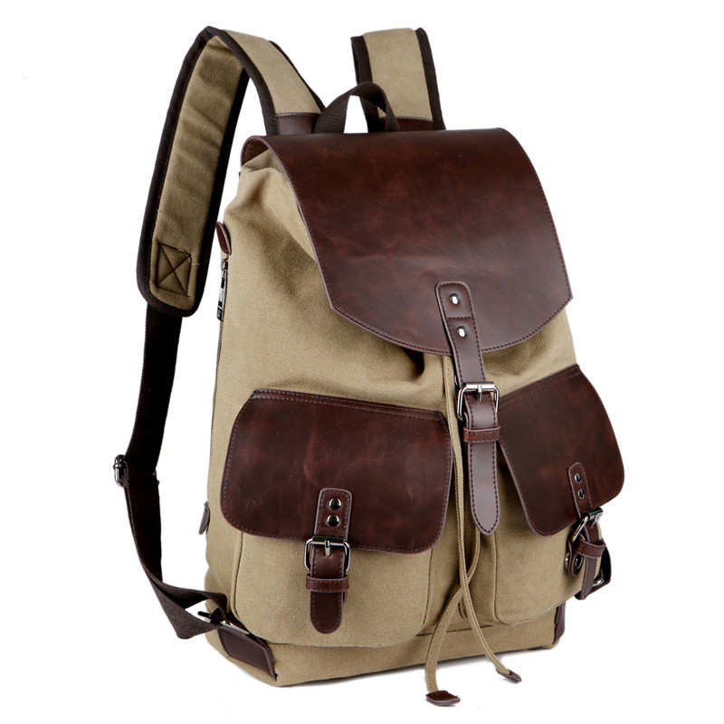 New High Quality Vintage Fashion Casual Canvas + Microfiber Leather Men Women Backpacks Shoulder  Bags For Lady Rucksack