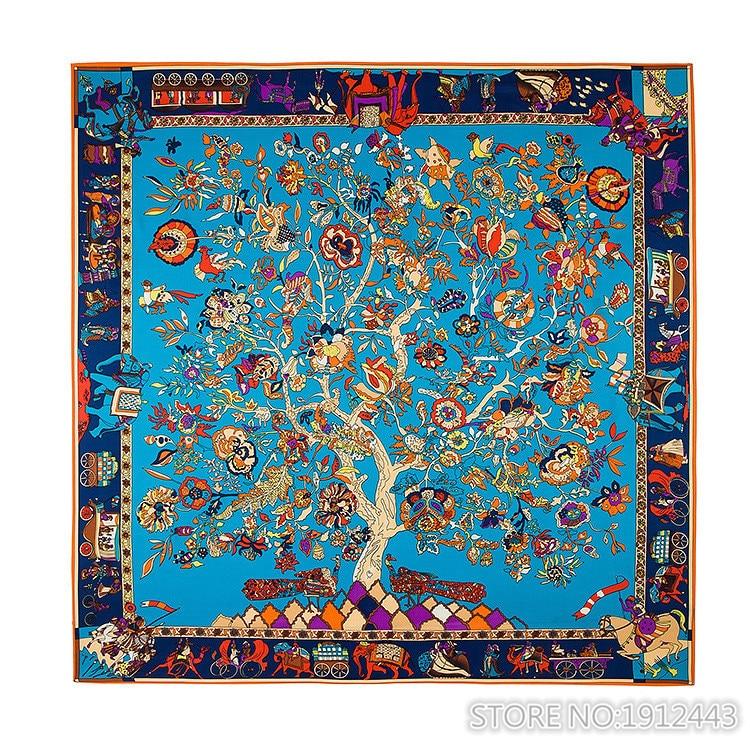 Womens Extra Large Silk Square Scarf Luxury Scarf 51x51 Inches 130cm*130cm 100% Women Bohemia National Wind Tree Femal Shawls