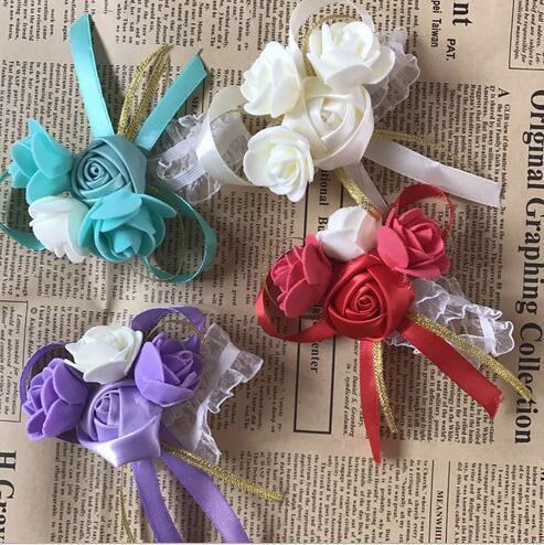 10 Pièces/lot 5 Coloré Mariée Poignet Fleurs Bouquets Demoiselles D'honneur Sœur Main Fleurs pour le Mariage ou Partie Corsages dans Artificielle et Fleurs Séchées de Maison & Jardin