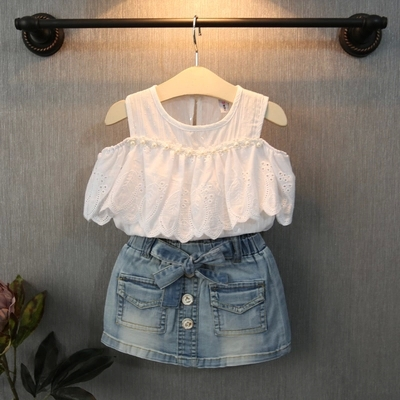 1 pieces new arrived 2015 summer kids baby clothing cute Flouncing strapless baby girl blouse camisa menino for 2~7 age