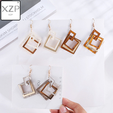 XZP Acrylic Earrings for Women Acetate RetroLong Hooks Dangle Earings Fashion Jewelry Square Statement Multi-Earring Oorbellen