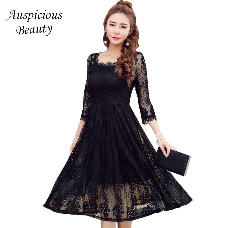 2018 Women Elegant Lace Princess Dress Off Shoulder Casual Evening Party A Line Dress Plus size Female Costumes Vestidos SXM18