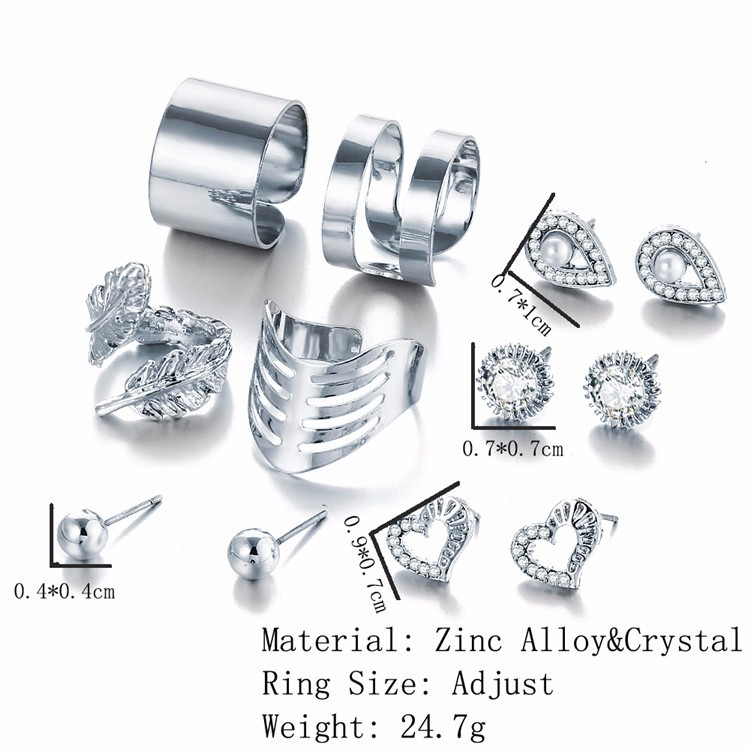 12pcs ring and earring set for women stud ear ring and finger ring set fashion jewelry for ladies heart and waterdrop earring