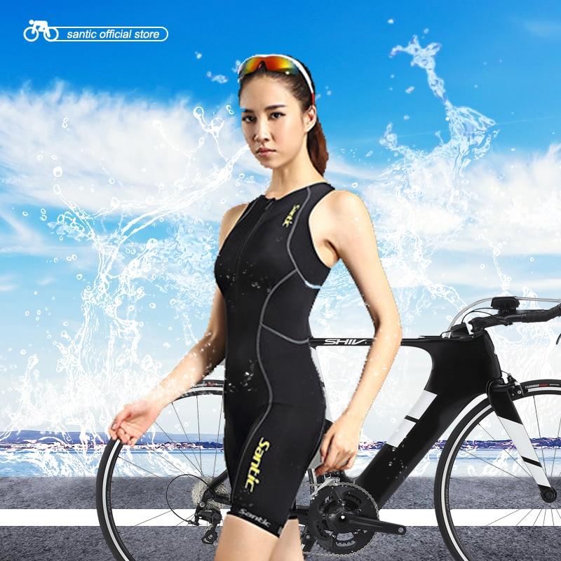 Santic Black Triathlon Clothing Men & Women Skinsuit Sleeveless Cycling Triathlon Clothing for Swimming Running Cycling MC03004 santic black triathlon clothing men