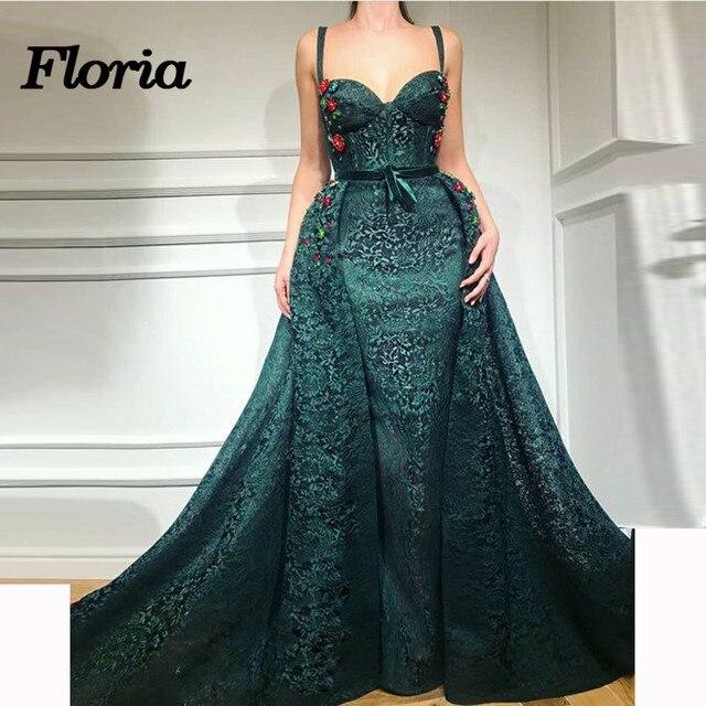 Elegant African Green Lace Evening Dresses Dubai Turkish Arabic Pageant  Dress Glitter Formal Prom Mermaid Gowns Robe de soiree d237c9f292bb