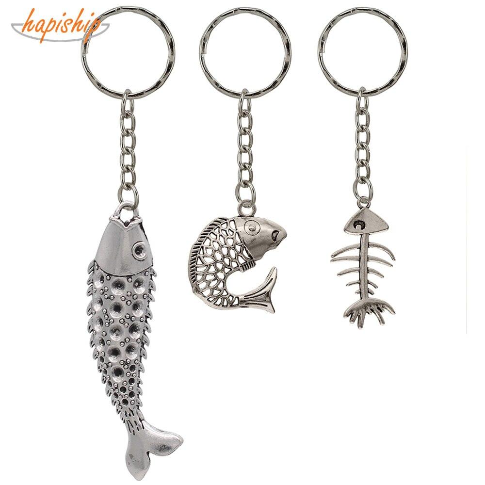 Jumping Dolphin Fish w//Water Pewter Metal Emblem Metal Ring Key Chain