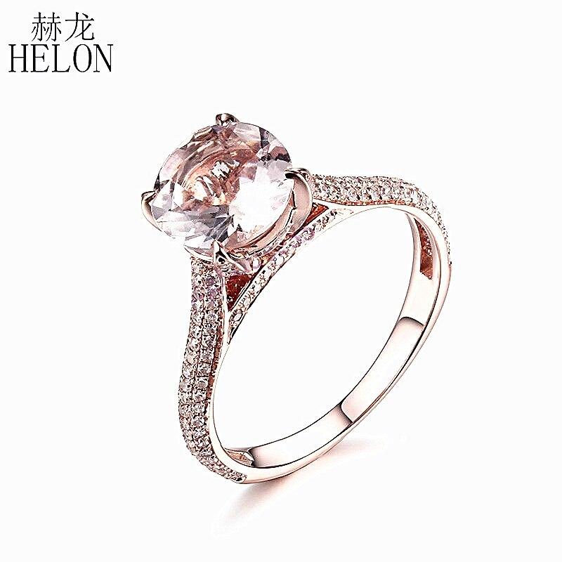 HELON Solido 10 k Rose Gold Flawless 8mm Taglio Rotondo 1.4ct Morganite Diamanti Della Pietra Preziosa Anello di Nozze di Fidanzamento Pavimenta & regolazione del polo