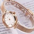 SINOBI лучший бренд класса люкс для женщин часы золотой простой повседневное нержавеющая сталь небольшой циферблат браслет сетка кварцевые Л...