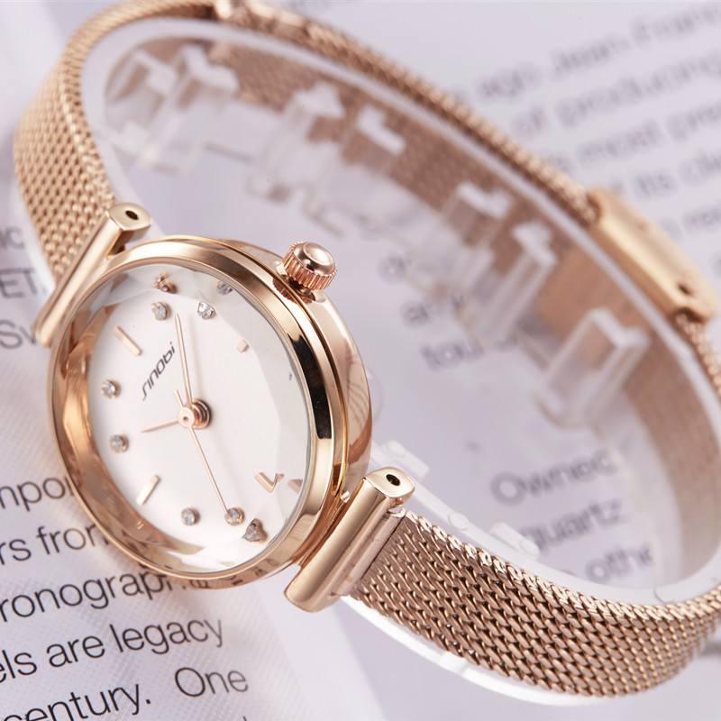SINOBI Top Brand Luxury Women Watches Golden Simple Casual Stainless Steel Small Dial Bracelet Mesh Quartz Lady Girl Wristwatch
