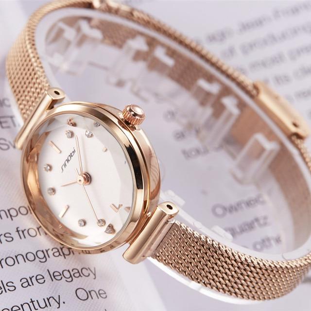 SINOBI Лидирующий бренд роскошные женские часы золотые Простые повседневные из нержавеющей стали маленький циферблат браслет сетка Кварцевые женские наручные часы для девочек