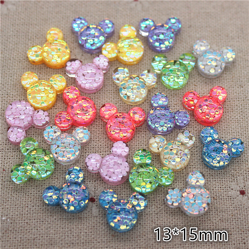 50pcs 13*15mm Mix Colors Glitter Resin Mouse Flatback Cabochons DIY Hair Bow Center Scrapbook Decoration