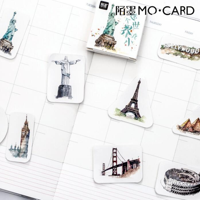 где купить  45 pcs/pack Places Of historic Interest And Scenic Beauty Around The World Stickers Adhesive Stickers DIY Decoration Stickers  по лучшей цене
