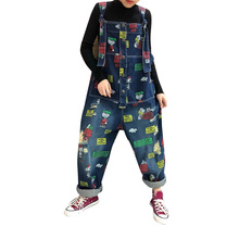 Women Cartoon Print Denim Overalls Wide Leg Jumpsuit Ripped Holes Casual Sleeveless Jeans Jumpsuits Ladies Loose Rompers