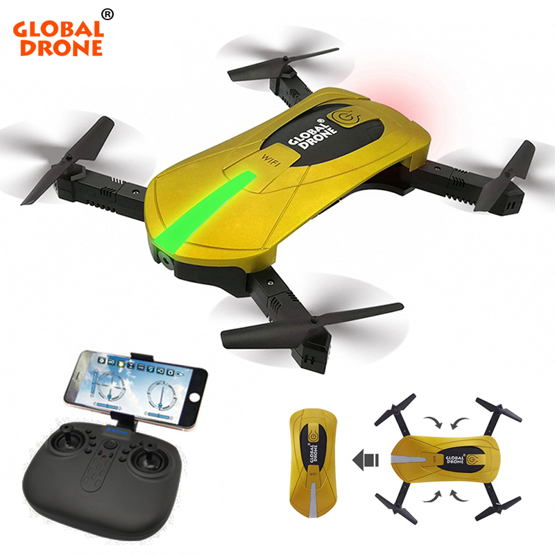 Global Drone GW018 Mini Foldable Selfie Pocket Drone Wifi Phone Control RC Quadcopter Drones with Camera HD 720P vs jjrc H37 dhd d5 selfie drone with wifi fpv hd camera foldable pocket rc drones phone control helicopter vs jjrc h37 mini quadcopter toys