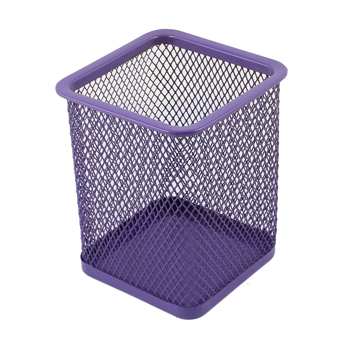 Purple Metal Rectangle Shaped Mesh Pen Pencil Holder Organizer