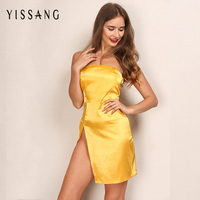 Yissang Amazing Summer Series Lemon Yellow Strapless Mini Dress Elegant One piece Side Slit Sexy Party Night Dresses Beach Wear