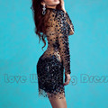 New Arrival Elegant Jewel Short Mini Cocktail Dresses Tulle Sequins Long Sleeve Custom Made Cocktail Dress