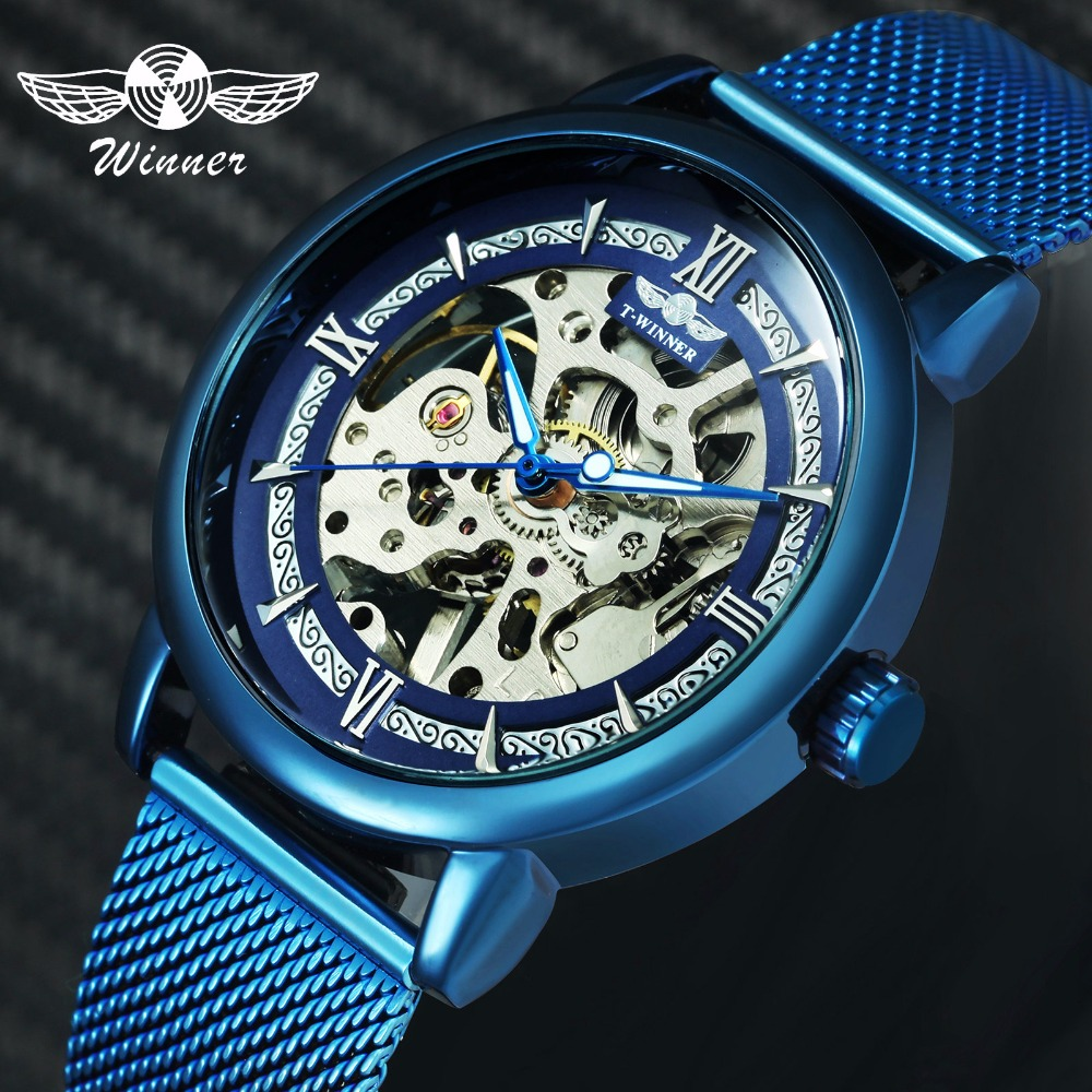 WINNER Official Fashion Casual Men Mechanical Watch Blue Mesh Strap Ultra Thin Skeleton Mens Watches Top Brand Luxury Clock 2019-in Mechanical Watches from Watches