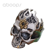 Gothic Punk 925 Sterling Silver Black Skull Head Ring Jewellery Inlaid Gold Star of David Hexagram for Men Size 8 9 10 11 недорого