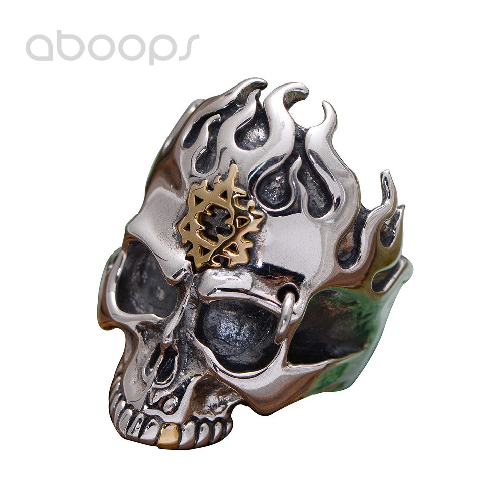 Gothic Punk 925 Sterling Silver Black Skull Head Ring Jewellery Inlaid Gold Star of David Hexagram for Men Size 8 9 10 11