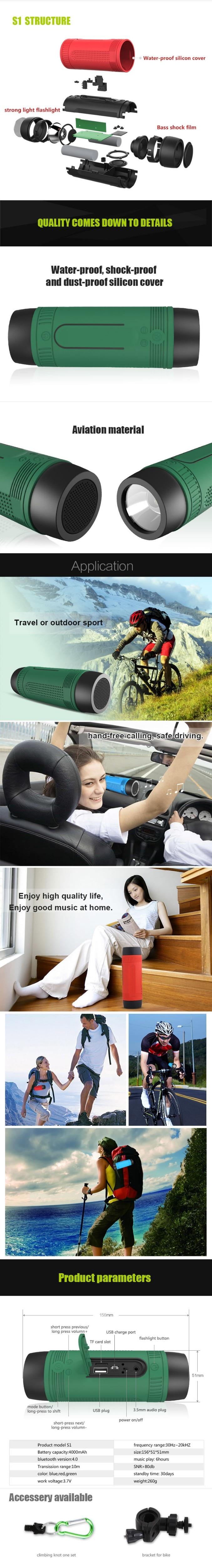 S1 Light Flashlight Bluetooth Speaker Radio Waterproof Portable Sound Box Outdoor