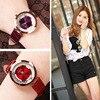 HK Luxury Brand GUOU High Quality Women Rolling Drill Watches Quicksand Gift Watch Genuine Leather Rhinestone