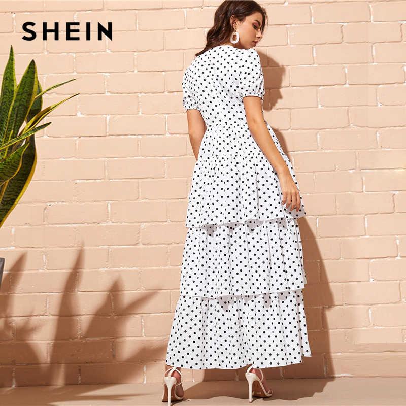 SHEIN многослойное платье в горошек с пышными рукавами и оборками, белое платье с завышенной талией, Элегантное летнее платье