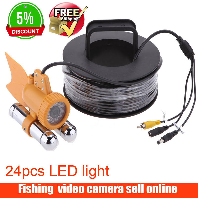 600TVL CCD Fishing Camera Underwater Video Camera Fish Finder 24pcs White LED Lights Nightvision 30M Cable