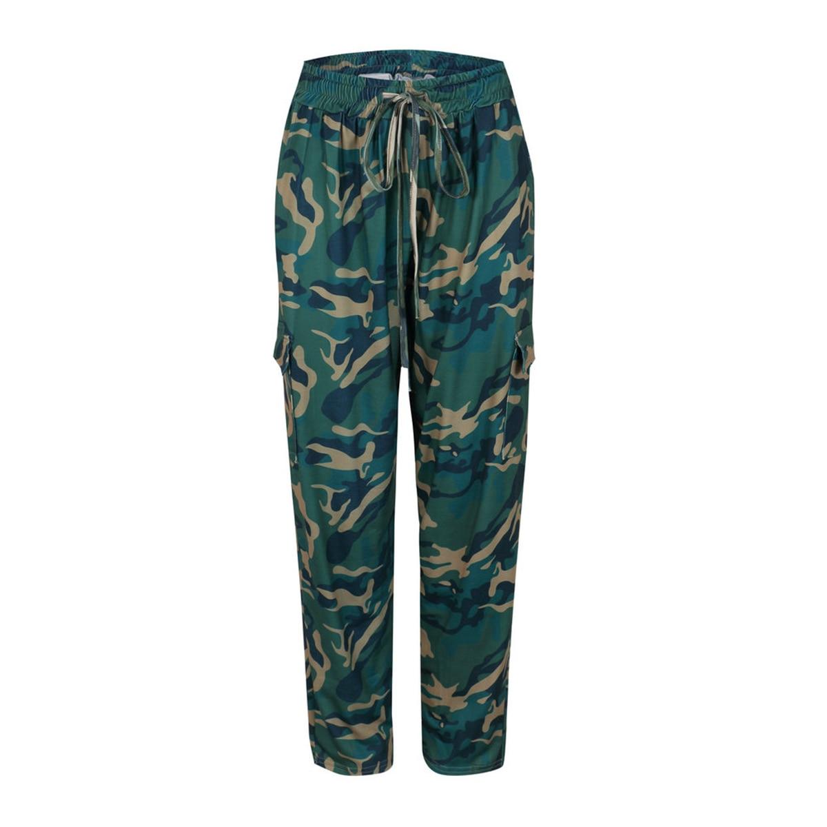 Summer Dress Women Camo Print Cargo Pant High Waist Hip Hop Trousers Pants Military Army Combat Camouflage Long Pants Capris