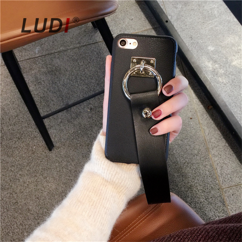 LUDI Korean Black Strap Grip Phone Case for iPhone 6s/6 Plus X 8 7 7/8plus Soft PU tassel Cover 5 5s se