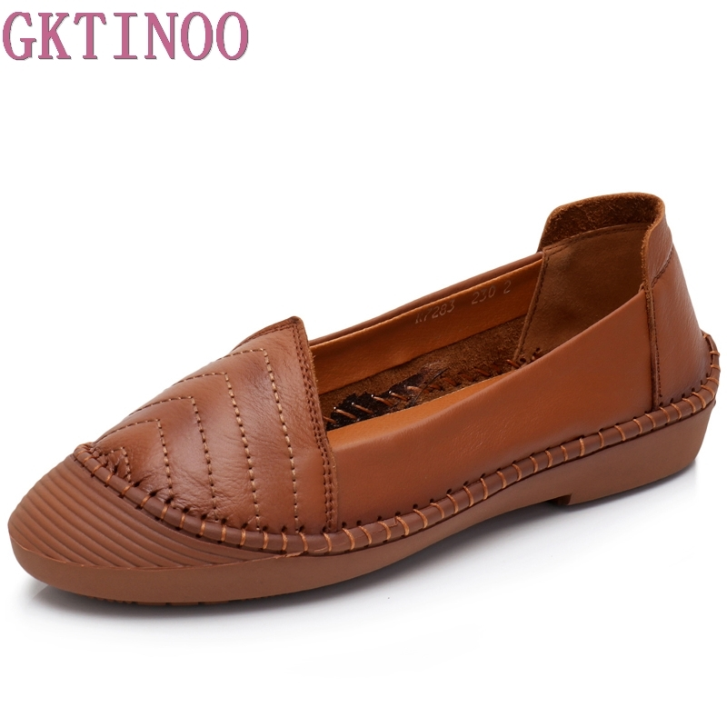 GKTINOO Women Flats Shoes Genuine Leather Slip-on Round Toe Rubber Sole Ladies casual Shoes Comfortable Soft Shoes Female Fall xiuteng 2018 spring genuine leather women candy color flats soft rubber sole ladies casual high quality beach walking shoes