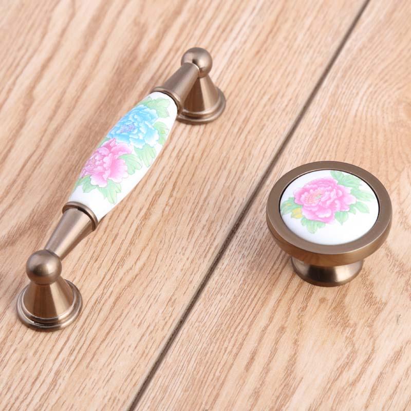 96mm creative retro rural ceramic Tv tabinet drawer knobs pulls bronze kitchen cabinet dresser door handles pink green pull knob