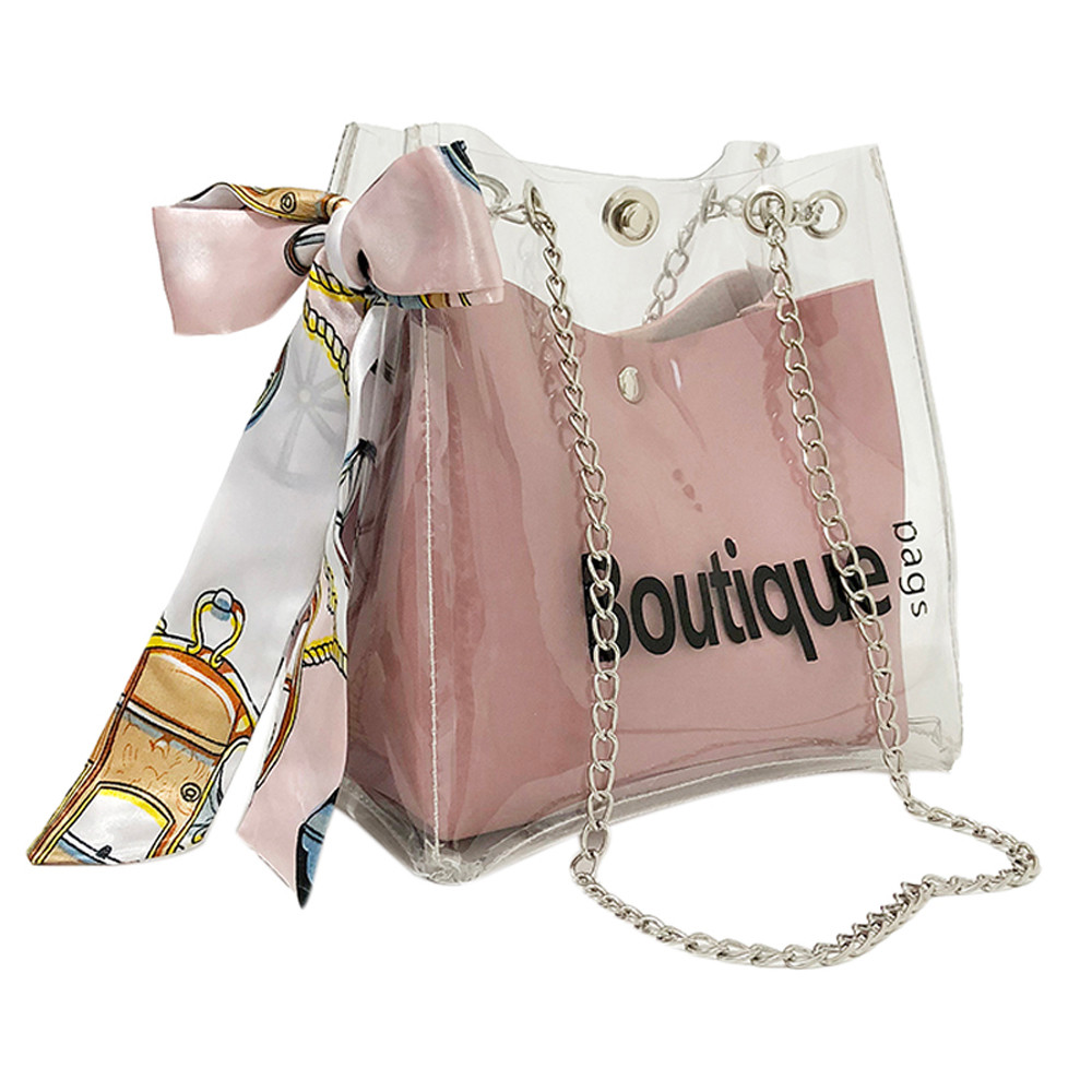Fashion Transparent Womens Shoulder Messenger Bag Beach Bag Casual Shopping Bag Sweet an ...