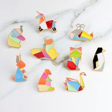 Swan fox Elephant Cat penguin squirrel Origami animal pin set Badges Hard enamel pins Brooch Animal jewelry Animal brooch(China)