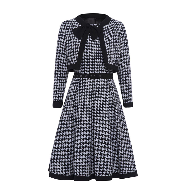 2018 Autumn Dress Women Vintage Two Piece Elegant Black Plaid Long Sleeve Bow Collar Slim A Line Dress Celebrity Party Dresses