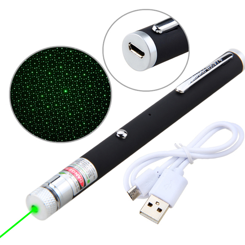 532/650nm Green/Red Lasers Pointer Light Hunting Green Dot USB Rechargeable 5mW Visible Beam Laser Pointer Pen Built-in Battery
